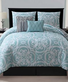 Love this Blue Kennedy Reversible Comforter Set by Victoria Classics on #zulily! #zulilyfinds