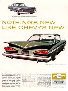 1959 Chevrolet Impala Sport Coupe original vintage advertisement. Great rear view with Bel Air Sedan illustrated above.