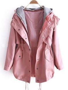 Pink Removable Hooded Long Sleeve Drawstring Trench Coat pictures