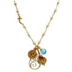 Sophia & Chloe sideways Cross Dolce Vita long necklace with OM, Karma and Peace, Love and Happiness charms