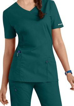 Landau Work Flow 3-pocket v-neck scrub top. Main Image