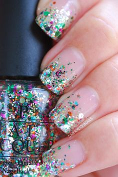 We can't get enough of this ultra-fabulous sparkly look from Sarah Lou of Sarah Lou Nails. Start with a clear base with subtle sparkle. Then use a makeup sponge to get the best application of your rainbow glitter polish. (We like OPI's Rainbow Connection.) Using the sponge helps the clear base soak into the sponge so the glitter is super-concentrated. Finish off with a clear topcoat.