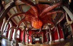 Huang Yong Ping (b. 1954 in Xiamen, Fujian province, China) - Wu Zei, 2010.  A 25 meters wide Octopus from the exhibition Mediterranean Sea at Monaco's Oceanographic museum.