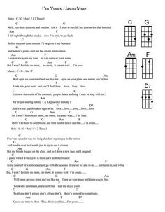 I love playing my ukulele and this is the first song I learned on it! Im Yours Ukulele Chords, Guitar Chords For Songs, Music Chords, Ukulele Tabs, Lyrics And Chords, Piano Songs, Music Guitar, Playing Guitar, Ukulele Songs