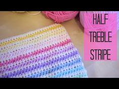 CROCHET: Half Treble crochet Stripe (Half double US), Bella Coco. A stripe blanket step by step tutorial using Half treble crochet (half double in US terms) Sorry for my husky voice! Crochet Cocoon, Chunky Crochet, Knit Crochet, Crochet Geek, Crochet Star Stitch, Crotchet Stitches, Half Double Crochet, Single Crochet, Striped Crochet Blanket