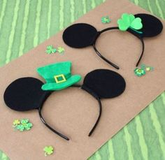 St. Patrick's Day Mickey Ears!  (Wouldn't these be super cute if you were going to be in the parks around St. Patty's Day??)