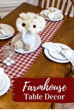 This rustic/farmhouse style table runner is perfect to style tables for special occasions or to add a special touch to your home decor.   #farmhousetabledecor #tablerunner #farmhousedecor #ginghamplaid #farmhousestyle