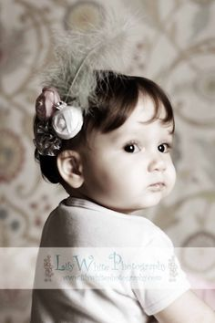 Baby Girl Headbands, Baby Flower Headband, Newborn Headband, Silk Flower Rosette, Pink, White and Grey Puff, Feathers Vintage LUXE by ana9112
