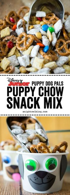 Dog Pals Puppy Chow Snack Mix This summer put the YAY in your FriYAY with NEW Puppy Dog Pals on Disney Junior and this tasty Puppy Chow Snack Mix for your kiddos!With With or WITH may refer to: Puppy Birthday Parties, Puppy Party, Dog Birthday, Birthday Ideas, Birthday Snacks, Summer Birthday, Card Birthday, Birthday Quotes, Disney Junior