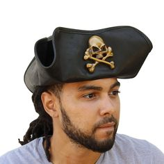 59522118714 Men s Handmade Terror at Sea Black Leather Jolly Roger Tricorn Hat Pirate  Hats