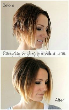 Everyday styling tutorial for a short angled bob- easy tips and step by step instructions. This would take me forever, but I'd love my hair to look that good! Diy Hairstyles, Pretty Hairstyles, Sweet Hairstyles, Short Angled Bobs, Corte Y Color, Short Hair Cuts For Women, Hair Today, Hair Dos, Ombre Hair