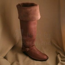The Cavalier boot is tall boot, just at the knee in height, and can be rolled down or cuffed to below the knee and represents riding boots worn from to the in Western Europe by wealthy L Tall Boots, Knee High Boots, Shoe Boots, Cowhide Leather, Tan Leather, Cavalier Boots, Renaissance Boots, Vikings, Viking Shoes