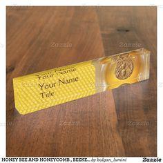 HONEY BEE AND HONEYCOMB , BEEKEPER, BEEKEEPING NAME PLATES  Design by Bulgan Lumini (c)