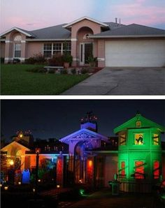 Colored spotlights for Halloween- I like the big impact with minimal clutter.