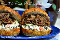 Slow Cooker - Light Sweet and Sour Pulled Pork Sandwiches - Lady Behind the Curtain