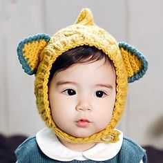 cbeeae99f6b Cute yellow knit hat with ears for baby winter ear flaps hats