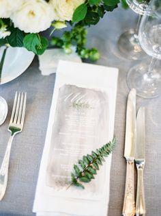 La Tavola Fine Linen Rental: Tuscany Silver with Hemstitch White Napkins | Photography: Coco Tran, Coordination: Brooke Baglietto, Floral Design: Studio Mondine