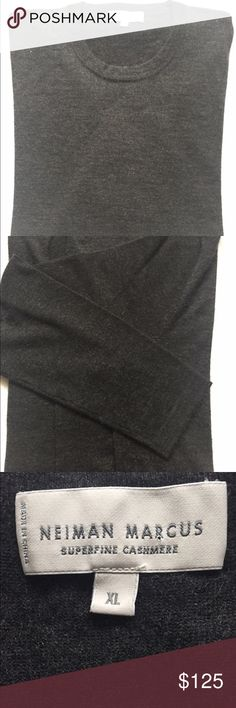 """Neiman Marcus 100% men's XL cashmere sweater. Neiman Marcus 100% superfine cashmere crewneck sweater. Charcoal - XL. Like New! Long sleeves with ribbed cuffs. Ribbed hem. Approximately 29"""" L back. Perfect for a light yet warm & luxurious added layer under a blazer or leather jacket. Great with jeans or dress pants. Condition is excellent & charcoal color goes with everything. Neiman Marcus Sweaters Crewneck"""