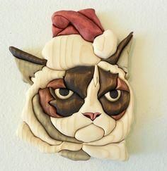 """Humbug"" grumpy cat wood intarsia"