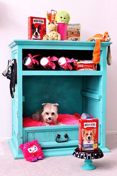 #TreatThePups this Valentine's Day with a D.I.Y Dog Cabinet. Turn a second-hand dresser into a pet bed and treat station with a few coats of paint and some Milk-Bone jars. A side table turned upside down or an oversize drawer with a large floor pillow will also double as a shabby chic dog bed when painted