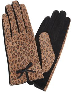 Animal Bow And Vent Suede Gloves | Brown | Accessorize