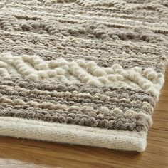 Mallory Neutral Striped Wool 8'x10' Rug | Crate and Barrel