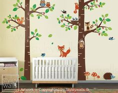 Forest Animals Wall decal Children Wall Decal Tree Tops Woodland Animals Critters Nursery Baby Playroom Kids Vinyl Wall Decal Wall Sticker