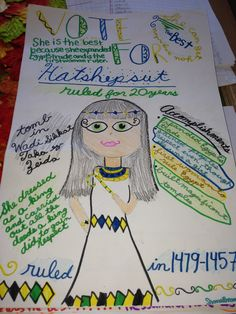 "Pharaoh Popularity Posters- Studying about the different pharaohs for our unit in Egypt, I had the kids research various pharaohs and choose one to focus on. They then created campaign posters trying to ""sell"" their pharaoh as the greatest leader. Students who researched the same pharaoh got together to campaign and make a speech in front of the class. At the end, the class voted for which Pharaoh was the greatest ruler. It was a lot of fun and the kids loved it! ( 6th grade)"