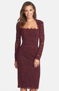 Free shipping and returns on Maggy London Square Neck Lace Sheath Dress at…