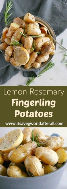 Lemon Rosemary Roasted Fingerling Potatoes - a vegan potato dish with hints of lemon and fresh rosemary! A great fall and winter vegetable recipe, perfect for the holidays. Roasted Veggies Recipe, Roasted Fall Vegetables, Thanksgiving Vegetables, Roasted Vegetable Recipes, Winter Vegetables, Veggie Recipes, Vegetarian Recipes, Roasted Fingerling Potatoes, Carrots And Potatoes