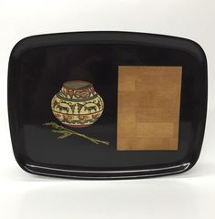 Vintage Couroc Black Lacquer Cheeseboard Tray Wooden Southwestern Jar Appliqué | eBay