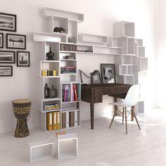White Cubit Shelving Surrounding Desk Interior Design