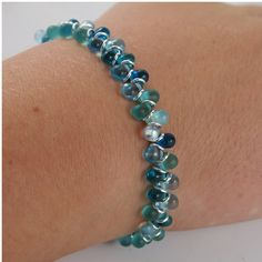 Ocean Drops Crystal Chainmaille bracelet by ChainedByLightness, $42.00