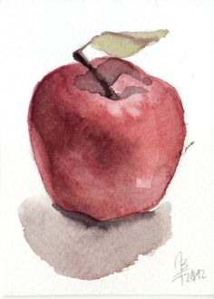 Little Red Apple - watercolor aceo. $10.00, via Etsy.
