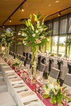 Table Arrangements. Werribee Mansion. Maroon. Flowers.