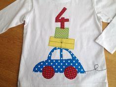 Langarmshirts - Geburtstagsshirt mit Zahl, Auto mit Geschenk - ein Designerstück von farbpiraten bei DaWanda