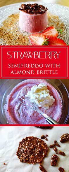 Strawberry-semifreddo with almond brittle - a perfectly refreshing & lovely strawberry-y recipe! Moreover simple & gluten-free 😋❤️🍓   cucina-con-amore.com