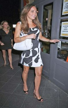 09.08.2007 Kate Middleton spotted at her favourite hang out Boujis in South Kensington, London. She was wearing an Issa white and black patterned dress