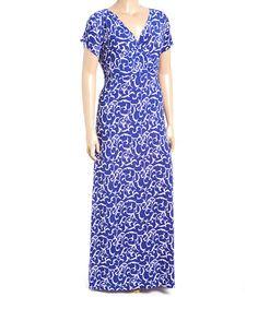 Another great find on #zulily! Blue & White Vine Cap-Sleeve Dress - Plus #zulilyfinds