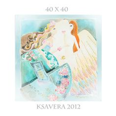 Surreal Painting Guardian Angel Emerald Grey Jade by KsaveraART, €47.00