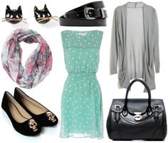 how to style a polka dot dress for day with gray cardigan black belt black skull flats black bag floral scarf and black cat earrings