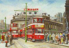 Pete Lapish - City Square - Leeds - West Yorkshire - England - Horsfield Trams - 1954 Leeds England, Yorkshire England, West Yorkshire, Leeds City, Christmas Art, Transportation, Graphic Design, Modern, Artists