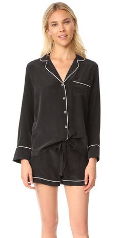 online shopping for Equipment Lillian Classic PJ Set from top store. See new offer for Equipment Lillian Classic PJ Set Onesie Pajamas, Silk Pajamas, Silk Pjs, Sleepwear Women, Pajamas Women, Silk Sleepwear, Plus Size Pajamas, Pj Sets, S Models