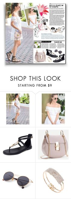 """""""SHEIN: Off The Shoulder Contrast Lace Dress"""" by rmhodgdon ❤ liked on Polyvore featuring shein"""