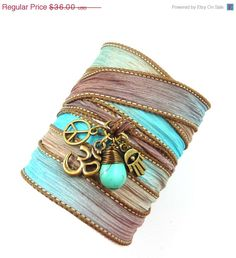 Om Silk Wrap Bracelet with Turquoise Peace por charmeddesign1012, $28.80