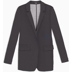 MAX&Co. Chevron jacquard jersey blazer featuring polyvore, women's fashion, clothing, outerwear, jackets, blazers, midnight blue pattern, patterned blazer, jacquard jacket, jacquard blazer, jersey blazer and lapel jacket