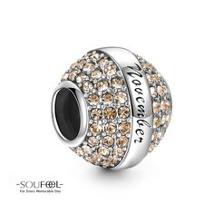 Soufeel November Birthstone Champagne Swarovski Elements Charm 925 Sterling Silver Compatible All Brands Basic Bracelet. For Every Memorable Day