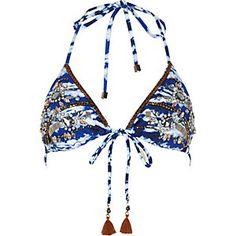 Blue tie dye embellished triangle bikini top