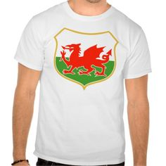 rugby wales red welsh dragon sports mascot tshirt. illustration of a red welsh wales dragon set inside flag shield in background suitable as a sporting mascot. #illustration #rugbywales #rwc #rwc2015 #rugbyworldcup