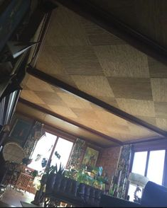 Bamboo grasscloth ceilings for the Mahalo Lounge: Probably my most labor-intensive (craziest) project ever! Ceiling Shades, Colored Ceiling, Ceiling Lights, Retro Renovation, Ceilings, Track Lighting, Bamboo, Lounge, Windows